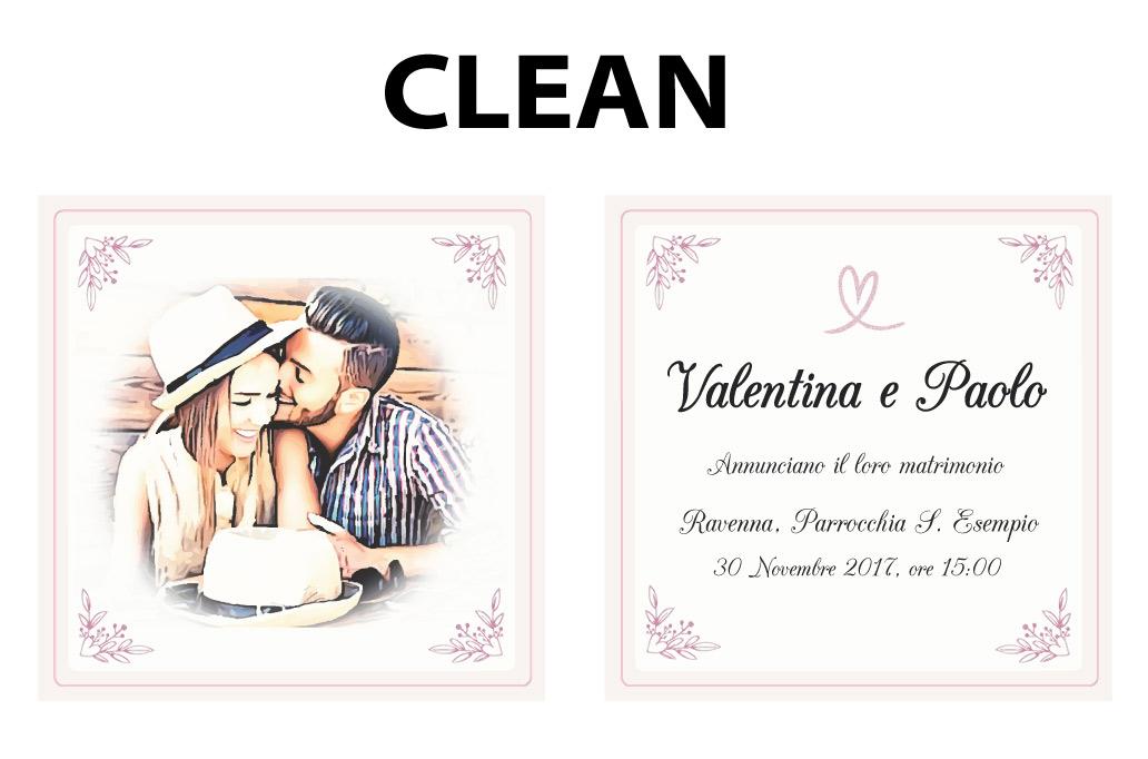 Partecipazioni matrimonio stampa colore CLEAN